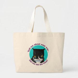 FUNNY CURIOUS CAT CANVAS BAG