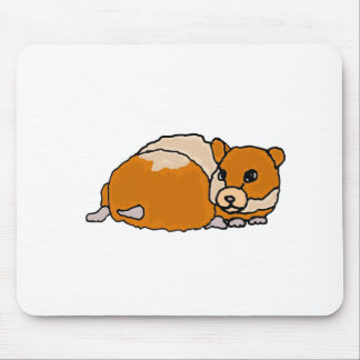 Funny Curled up Hamster Cartoon Mouse Pad