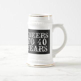 Funny custom cheers to 40 years birthday gift beer stein