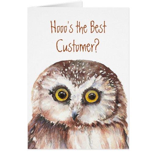 Funny Custom Customer Birthday, Wise Owl Humor Card
