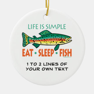 Funny Custom Fishing Ceramic Ornament