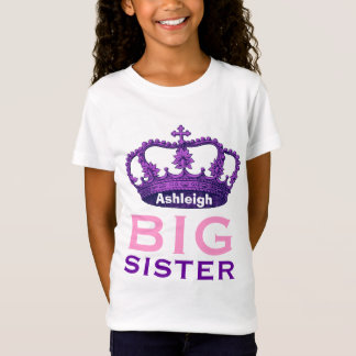 Funny Custom Name BIG SISTER Purple Crown Gift V07 T-Shirt
