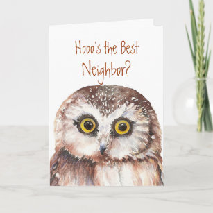 Funny Custom Neighbor Birthday Wise Owl Humor Card