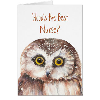 Funny Custom Nurse Birthday, Wise Owl Humor Card