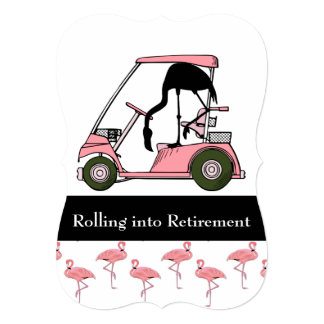 Funny Custom Retirement Party Golf Flamingo Theme Card