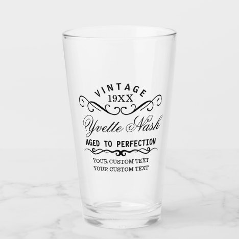 Funny Custom Vintage Birthday Aged To Perfection Glass