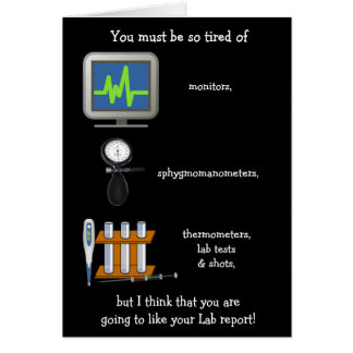 Funny Customizable Lab Report Get Well Card