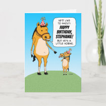 Funny Customizable Little Horse Birthday Card