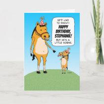 Funny Customizable Little Horse Birthday Card