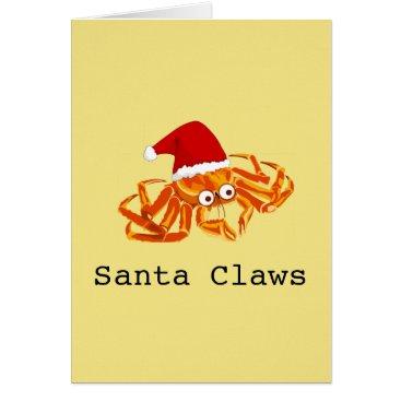 Beach Themed Funny Customizable 'Santa Claws' christmas Card