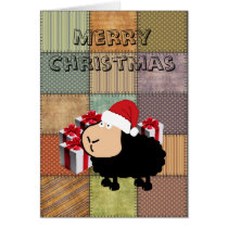 Funny cute adorable Santa cartoon sheep Christmas