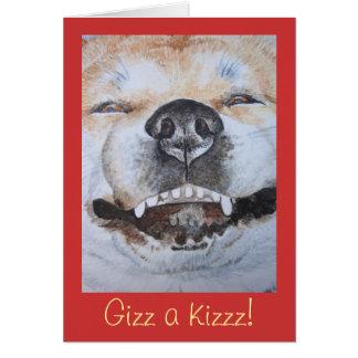 funny cute akita smiling realist dog art greeting cards