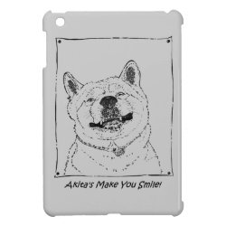 funny cute akita smiling realist dog art cover for the iPad mini