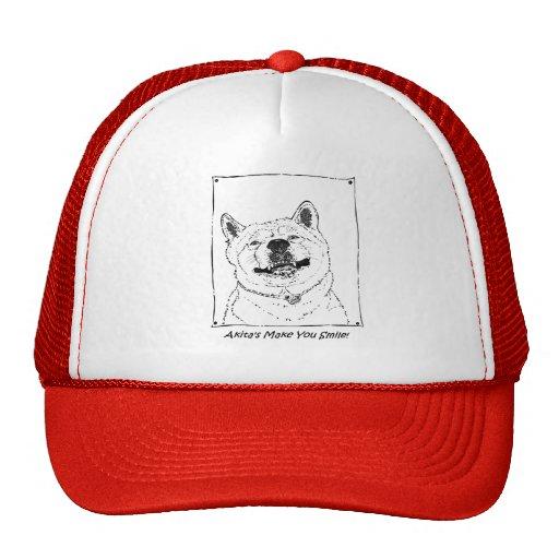 funny cute akita smiling realist dog art mesh hat
