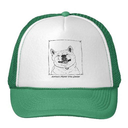 funny cute akita smiling realist dog art mesh hats