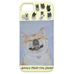 funny cute akita smiling realist dog art iPhone SE/5/5s case