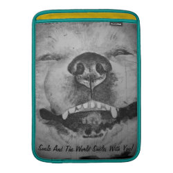 funny cute akita smiling realist dog art MacBook air sleeve