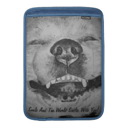 funny cute akita smiling realist dog art sleeve for MacBook air