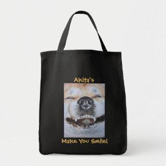 funny cute akita smiling realist dog art tote bag