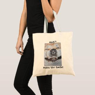 funny cute akita smiling slogan realist dog art tote bag