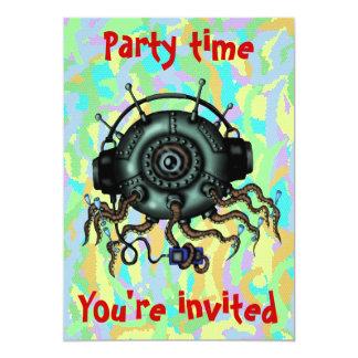 Funny cute alien octopus cartoon party invitation