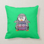 Funny Cute Aztec Penguin on Green Background Throw Pillows