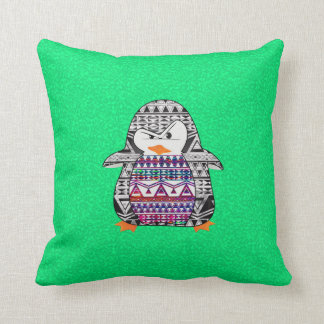Funny Cute Aztec Penguin on Green Background Throw Pillow