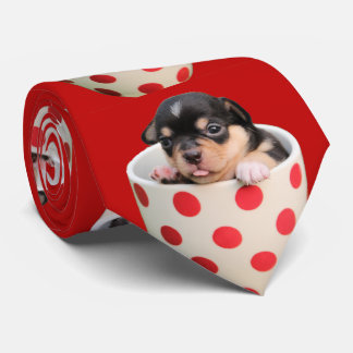 Funny cute baby Chihuahua in red polka dot mug Neck Tie