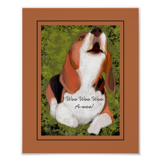 Funny, Cute Beagle's Howling Poster