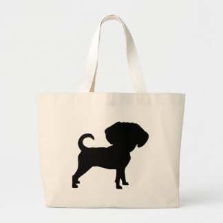 Funny Cute Big Head Puggle Dog Canvas Bags