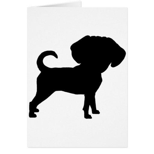 Funny Cute Big Head Puggle Dog Greeting Card