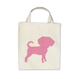 Funny Cute Big Head Puggle Dog (pink) Bag