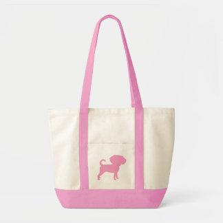Funny Cute Big Head Puggle Dog (pink) Canvas Bags