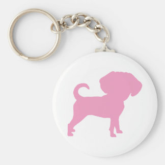 Funny Cute Big Head Puggle Dog (pink) Keychain