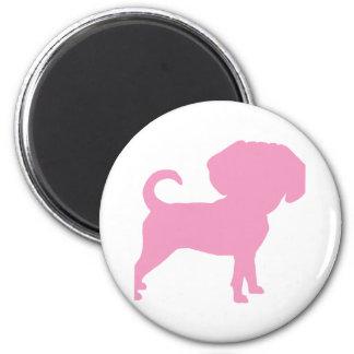 Funny Cute Big Head Puggle Dog (pink) Magnet