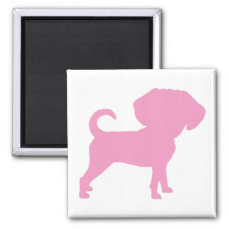 Funny Cute Big Head Puggle Dog (pink) Refrigerator Magnets