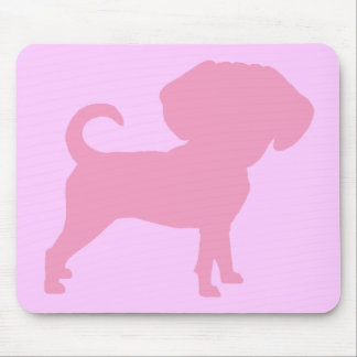 Funny Cute Big Head Puggle Dog (pink) Mouse Mat