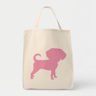 Funny Cute Big Head Puggle Dog (pink) Tote Bag