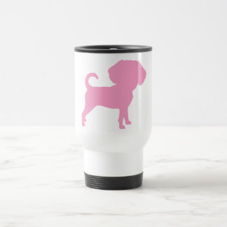 Funny Cute Big Head Puggle Dog (pink) Travel Mug