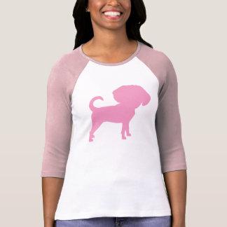 Funny Cute Big Head Puggle Dog (pink) Tee Shirts