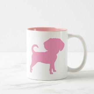 Funny Cute Big Head Puggle Dog (pink) Two-Tone Coffee Mug