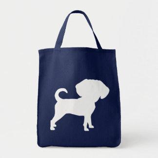 Funny Cute Big Head Puggle Dog (white) Tote Bag