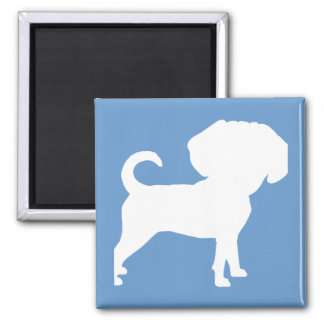 Funny Cute Big Head Puggle Dog (white) Magnet