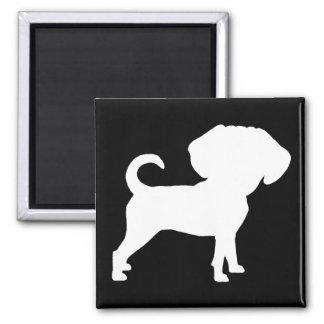 Funny Cute Big Head Puggle Dog (white) Fridge Magnets