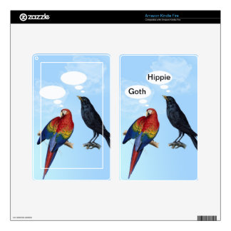 Funny cute bird insults - Goth, Hippie Kindle Fire Decal