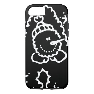 Funny Cute Black And White Snowman Face iPhone 8/7 Case