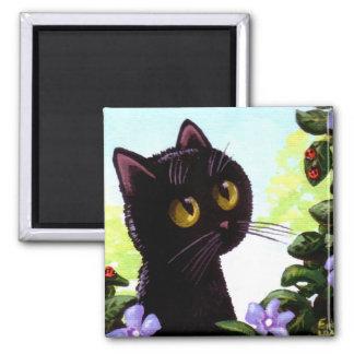 Funny Cute Black Cat Art Ladybug Creationarts 2 Inch Square Magnet