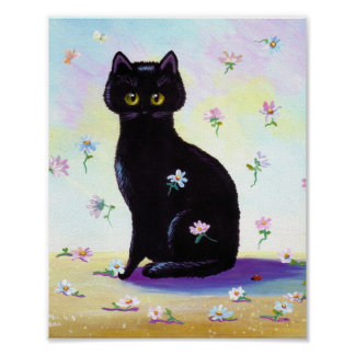 Funny Cute Black Cat Poster Daisies Creationarts