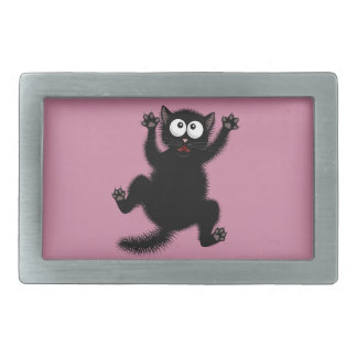 Funny Cute Black Scared Cartoon Cat, kitten Belt Buckle