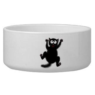 Funny Cute Black Scared Cartoon Cat, kitten Bowl